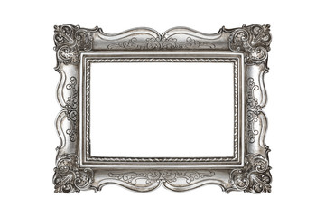 Silver picture frame on white background with clipping path