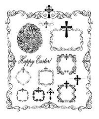 Decorative easter frames with crosses and egg shape (black and white)