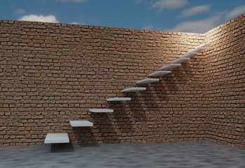 Brick wall and stair to sky. Success concept. 3d render illustration