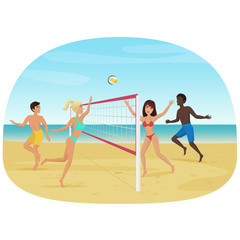 People having fun playing volleyball on the beach vector illustration. Active seabeach sport.