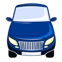 vector illustration blue car, front view, bumper, windscreen and hood