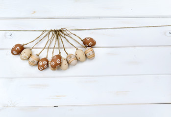 easter decoration with beige eggs