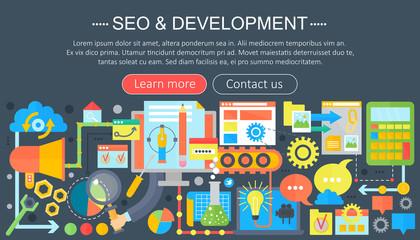SEO and development concept design infographics template design, web header seo icons elements. Vector illustration.
