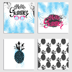 A set of summer cards. Ready-made designs with palm trees, pineapple and sunglasses. Vector illustration.