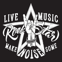 Rock and Roll hand sign with Rock Star inscription.