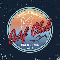 Vector Summer Surf Club retro badge.