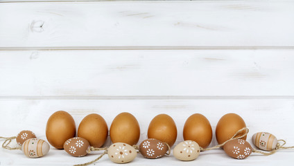 easter eggs  on a white wooden background