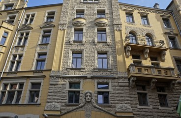 Riga, Jauniela 25-27, architect Wilhelm Bockslaff, Art Nouveau, National Romanticism (1903), elements of architecture.