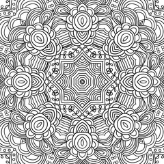 Uncolored mandala symmetrical pattern