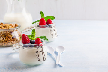 Yoghurt with muesli, raspberry, blueberry and mint in glassware on a blue background