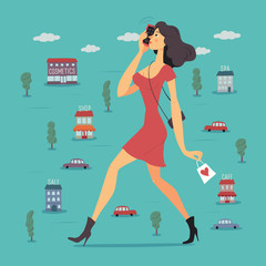 Side view of a young beautiful woman in red dress with handbag and shopping bag talking on the phone while walking on the city. Vector illustration.