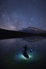 Stand up Paddle Board under Milky Way