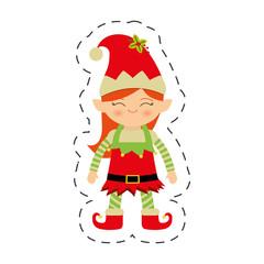 christmas elf female image vector illustration eps 10