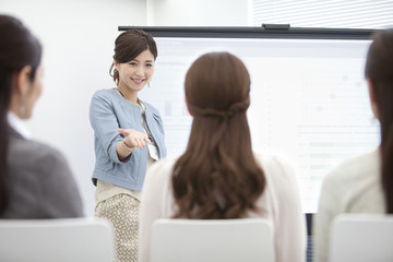 Four businesswomen in a meeting