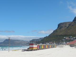 Colourful Victorian bathing boxes in Muizenberg beach