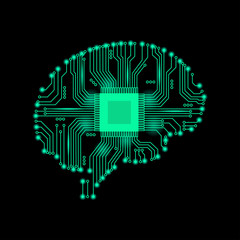 Abstract brain of man in an electronic form. Vector illustration. Abstract brain.