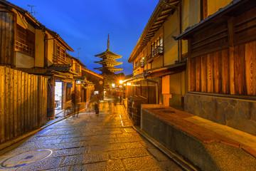 Japanese old town in Higashiyama District of Kyoto at night, Japan