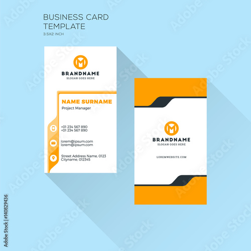 Vertical business card print template personal visiting card with vertical business card print template personal visiting card with company logo clean flat design reheart Image collections