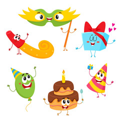 Cute and funny birthday item characters with smiling human faces, cartoon vector illustration isolated on white background. Set of birthday party characters, mascots - cake, gift, mask, horn, balloon