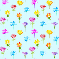 Floral seamless pattern of a wild flowers. Buttercup, cornflower, bluebell, snowdrop flowers. Watercolor hand drawn illustration. Blue background.