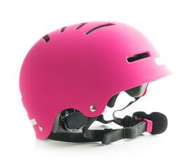 Pink bike helmet.
