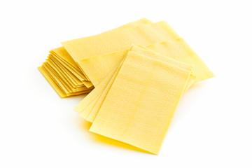 Raw lasagne sheets.
