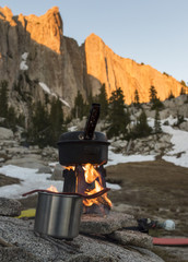 Water Boiling On Cooking Stove In The Lone Peak Wilderness In Utah's Wasatch Mountains