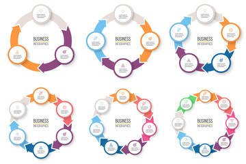Business infographics. Circular arrows with 3-8 steps, options. Vector pie charts.
