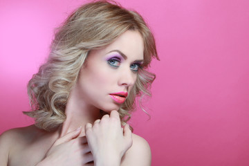 Blonde Beauty model in nice Make up