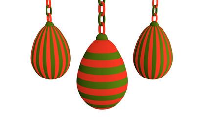 3d-Illustration, rot-grüne Ostereier an einer Kette