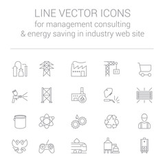 Line vector icons for management consulting and energy saving in industry web site