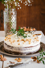 Carrot cake decorated with flowers