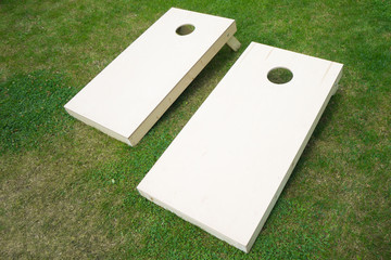 Wooden Cornhole Boards on Grass