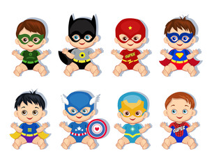Illustration  group of cute babies boys in costumes of superheroes.