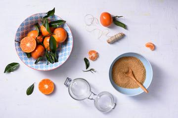 Tangerine jam cooking ingredients. Healthy organic sweets. Top view.