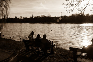 people sitting near the lake