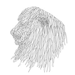 Lion cat animal low poly design. Triangle vector illustration.