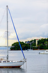 small sailing boat near the cost of Dominican Republic