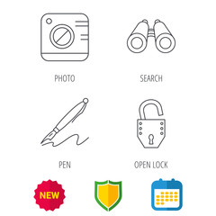 Photo, open lock and search icons. Pen linear sign. Shield protection, calendar and new tag web icons. Vector
