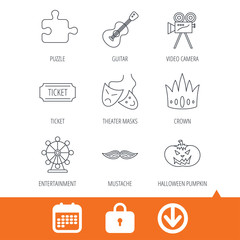 Puzzle, guitar music and theater masks icons. Ticket, video camera and crown linear signs. Entertainment, halloween pumpkin and mustache icons. Download arrow, locker and calendar web icons. Vector