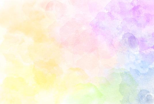 Beautiful watercolor rainbow pattern illustration. Watercolour texture. Pastel tone.