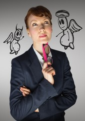 Digital composite image of a businesswoman with angel and devil