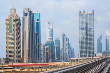 Metro railroad downtown in Dubai, United Arab Emirates