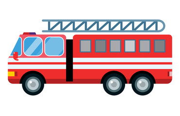 Fire truck car vector illustration isolated cartoon silhouette fast emergency service transport vehicle transportation alarm safety burning