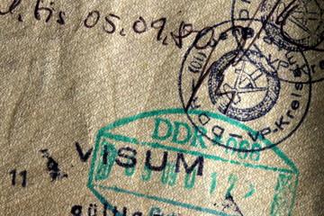 German Democratic Republic, Visum und Einreisestempel der DDR in einem österreichischen Reisepass Wall mural