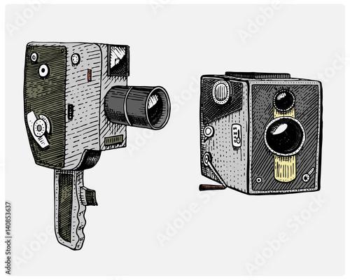 Camera Vintage Vector Free : Photo movie or film camera vintage engraved hand drawn in sketch