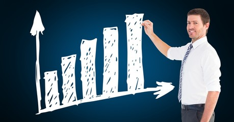 Businessman drawing upward trend graph