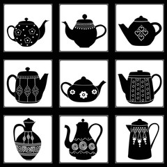 Seamless pattern with teapots decorated