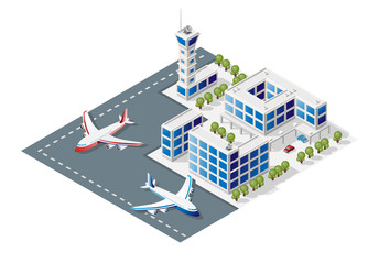 Isometric High Quality City Element with 45 Degrees Shadows on White Background . Airport