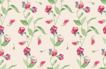 Floral seamless pattern in country style. Background for textile or book covers, manufacturing, wallpapers, print, gift wrap and scrapbooking. Flowers of sweet peas on a beige background